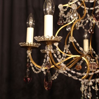 A Florentine Gilded 8 Light Antique Chandelier