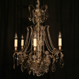 A French Silver 6 Light Antique Chandelier