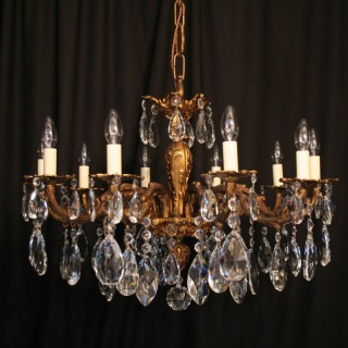 An Italian 10 Light Gilded Antique Chandelier