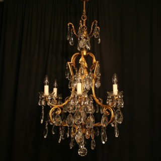 A French Gilded 7 Light Antique Chandelier
