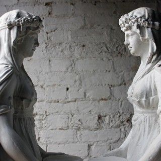 A Large Pair of Neoclassical Plaster Figural Standing Maidens; Removed from The Savoy Hotel, By Repute c.1930-50