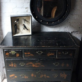A Pretty George III Black Japanned & Chinoiserie Decorated Chest of Drawers, Formerly a Chest on Stand c.1750