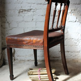 A Handsome Sheraton Influence Mahogany & Leather Side Chair c.1780
