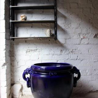 A Fabulous Large Minton Ultramarine Blue Ground Pottery Jardiniere Designed by Dr Christopher Dresser c.1880