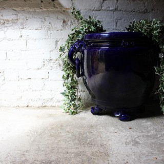 A Fabulous Large Minton Ultramarine Blue Ground Pottery Jardiniere Designed by Dr Christopher Dresser c.1880
