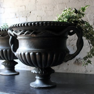 A Large & Rare Pair of Cast Iron French Estate Serpent Handled Urns c.1860-70 probably by the Val D'Osne Foundry