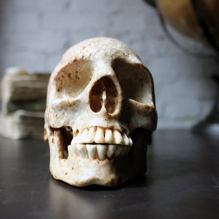 A Very Rare Mid-19thC Carved Whale Bone Skull Set with Human Teeth