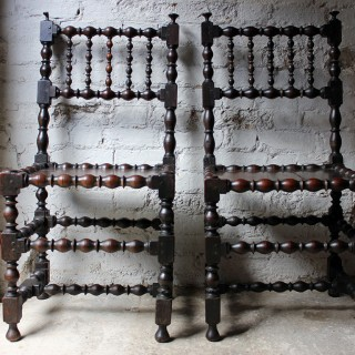 A Very Good Pair of Charles II Oak Spindle Back Chairs c.1680
