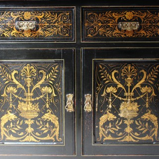 A Very Good Victorian Aesthetic Movement Ebonised & Painted Side Cabinet c.1886