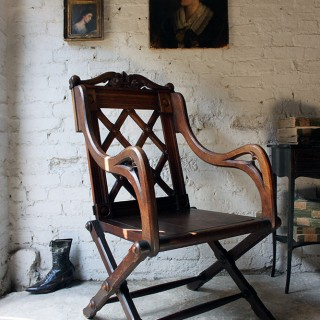A Very Good 19thC Gothic Revival Oak Ceremonial Armchair Possibly Designed by Richard Bridgens (1785-1846)