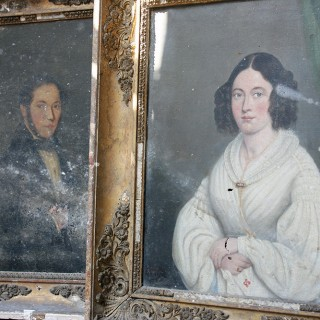 A Good Pair of c.1842 French School Provincial Oil on Canvas Portraits of a Gentleman & His Wife