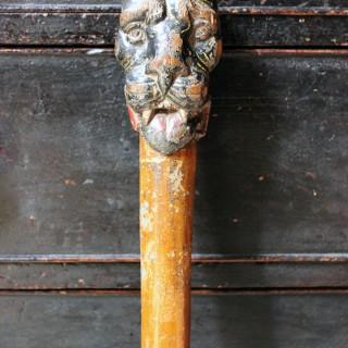 A Wonderful 18thC English One Piece Folk Art Walking Cane Carved as a Lion