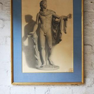 A Very Fine c.1864 Pencil Study of the Apollo Belvedere
