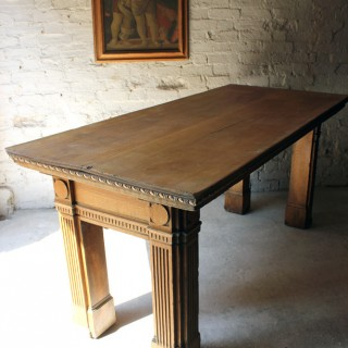 An Imposing Georgian Revival Bleached Oak Counter Table c.1885