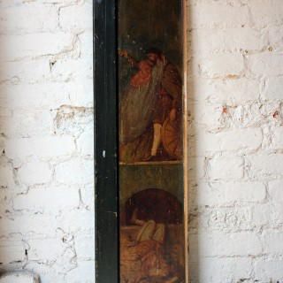 A Wonderful Series of Eight c.1900 Arts & Crafts Movement Ecclesiastical Scenes on a Pair of Cabinet Doors