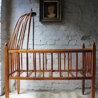 A Pretty Mid 19thC Canopied Ash Crib