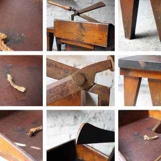 A Very Interesting c.1890 Primitive Pine & Cast Iron Workbench from Lancaster County Lunatic Asylum, By Repute