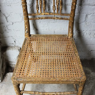 A Good Decorative Pair of c.1810 Regency Painted Simulated Bamboo Side Chairs