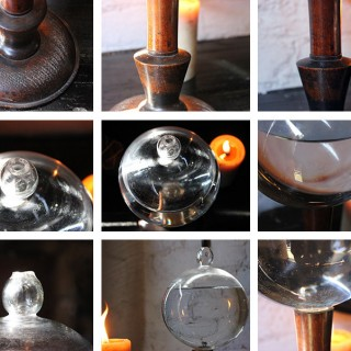 A Wonderful Early 19thC Lace Makers Magnifying Flask or Flash Globe on Stand c.1800-40