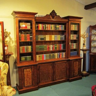 Large Figured and Burr Walnut Inverted Breakfront Antique Bookcase