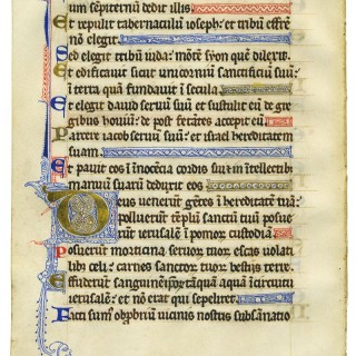 Superb 13th century illuminated psalter leaf