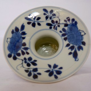 CHINESE BLUE AND WHITE PORCELAIN SPITTOON - KANGXI