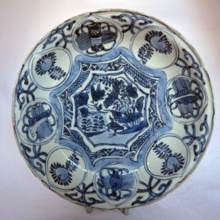 MING BLUE AND WHITE KRAAK SAUCER DISH