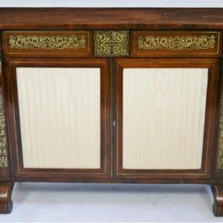 Regency Rosewood Brass Inlaid 2 Door Side Cabinet