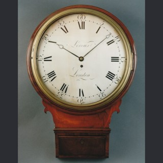 A fine Regency trunk dial wall clock in a mahogany case by LEROUX, London c1800