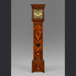 A small William & Mary walnut and marquetry longcase clock, by THOMAS GRIMES, Londini Fecit c1684