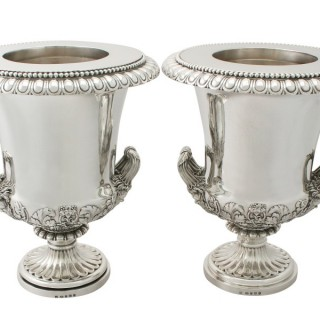 Pair of Sterling Silver Wine Coolers - Antique George III