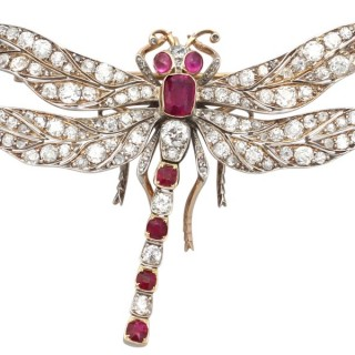 5.70 ct Diamond and 3.30 ct Ruby, 9 ct Yellow Gold 'Dragonfly' Brooch - Antique Victorian