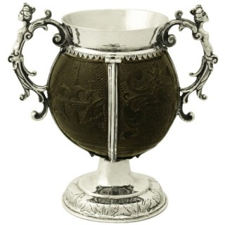 Sterling Silver Mounted Coconut Cup - Antique Circa 1750