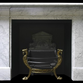 ANTIQUE EARLY VICTORIAN CARRARA MARBLE FIRE SURROUND
