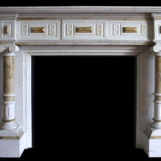 ANTIQUE LATE VICTORIAN STATUARY WHITE MARBLE FIRE SURROUND WITH SIENNA MARBLE PILLARS