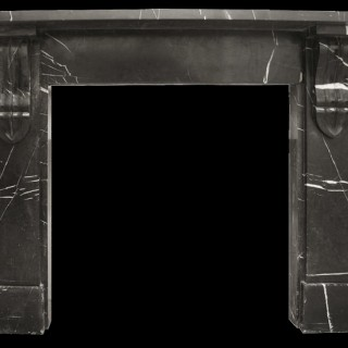 ANTIQUE MID VICTORIAN BLACK MARBLE FIREPLACE SURROUND