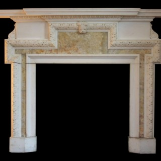 ANTIQUE STATUARY WHITE MARBLE & ALABASTER CHIMNEYPIECE