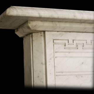 ANTIQUE VICTORIAN ARCHED WHITE MARBLE FIREPLACE.