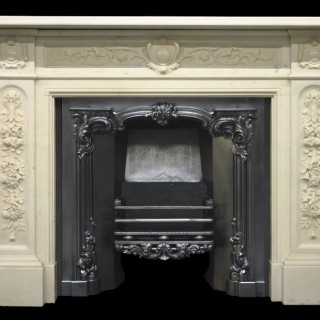 EARLY VICTORIAN DEEPLY CARVED STATUARY MARBLE FIRE SURROUND