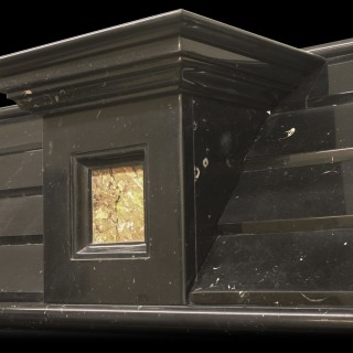LARGE ANTIQUE ARCHITECTURAL BLACK MARBLE CHIMNEYPIECE IN THE BAROQUE MANNER