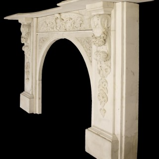 SPECTACULAR ANTIQUE EARLY VICTORIAN CARVED MARBLE CHIMNEYPIECE
