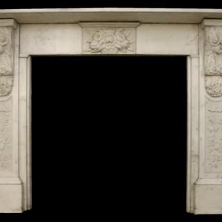 VICTORIAN ANTIQUE CARVED STATUARY MARBLE FIRE SURROUND