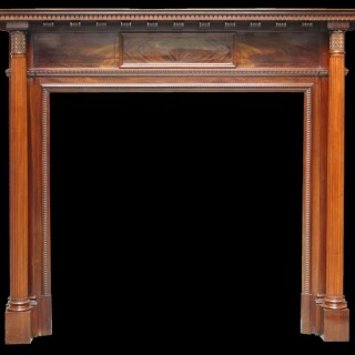 ANTIQUE RECLAIMED LATE VICTORIAN FLAME VENEERED MAHOGANY FIREPLACE SURROUND