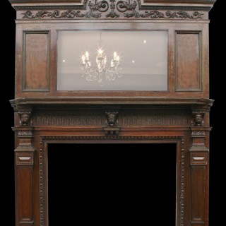 RECLAIMED VICTORIAN CARVED OAK CHIMNEYPIECE