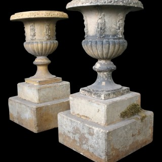 RECLAIMED PAIR OF VICTORIAN UNGLAZED TERRACOTTA URNS