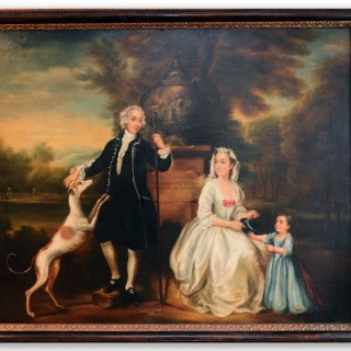 19th century oil on canvas portrait painting of a Spanish family