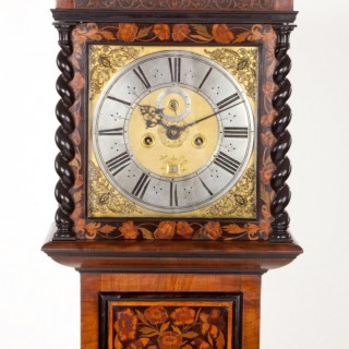 A fine walnut marquetry clock by Robert Dingley, London C1690.