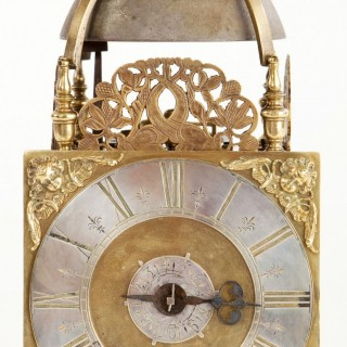 A fine square dialled lantern clock by James Drury, London C1695.