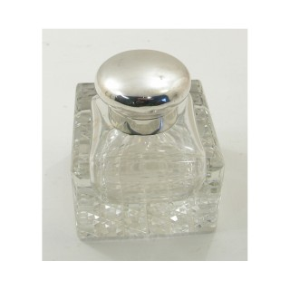 EDWARDIAN SQUARE CUT GLASS & SILVER INK BOTTLE