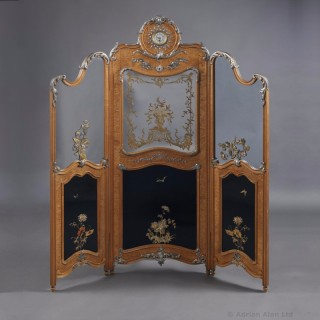 Rare Lacquered Satinwood Secrétaire Screen